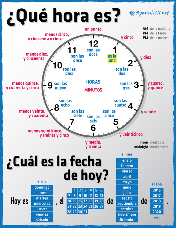 how to say one hour in spanish